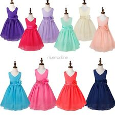Girls Formal Dress Chiffon Flower Princess Wedding Gown Prom Bridesmaid Dress