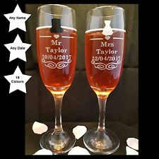 Personalised Calice Di Champagne Bicchieri MR e MRS, Regalo Di Nozze o regalo