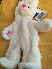 New UNSTUFFED Build-A-Bear 12 in GIRL SCOUT WHITE TEDDY Pink Bow Plush 12 inch