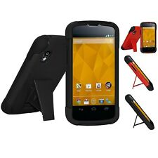 AMZER Dual Layer Hybrid Shell Kickstand Shockproof Case For Google LG Nexus 4