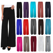New Ladies Women Palazzo Plain Flared Wide Leg Pants Leggings Baggy Trousers