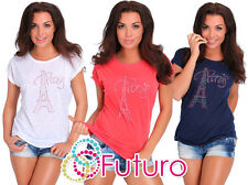 casual con Paillettes T-shirt PARIS STAMPA, ESTATE MAGLIA FESTA TUNICA TAGLIE