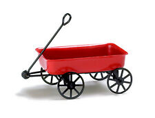 Dollhouse Miniature Wagon Toy Red Metal  Minis 1:12 Scale