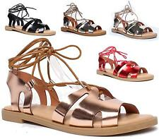 Ladies Gladiator Flat SlingBack Sandals Strappy Summer Lace Up Peep Toe Beach Sh