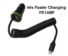 Superfast 3.4A Car Charger Cable with Extra USB Port For iPhone 6 6S 7 Plus iPad