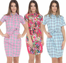 Womens Ladies Check Floral Print Belted Button Down Short Mini Shirt Dress Top