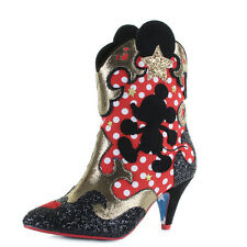 Womens Irregular Choice Hot Diggety Dog Mickey Mouse Western Red Boots Sz Size