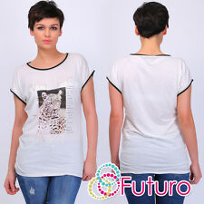 PARTY ecru T-SHIRT LIMITATE stampa girocollo manica corta top tunica taglie 8-12