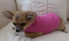 """7"""" Female/Unisex Hand Knitted Chihuahua /Small Dog/Puppy/Tea Cup/Jumper/Coat DK"""