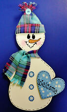 WELCOME SNOWMAN SIGN Winter Season Plaque Wall Art Door Hanger Hanging Decor