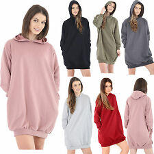 Womens Ladies Hooded Oversized Baggy Sweatshirt Jumper Dress Top Size UK 8-18
