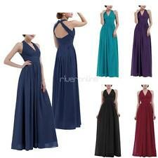 Womens Halter V-neck Chiffon Long Dresses Formal Bridesmaid Wedding Evening Gown