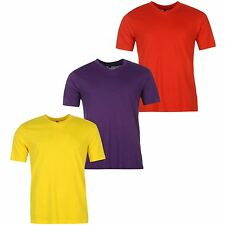 Donnay 3 Pack V-Neck T-Shirt Mens Purple/Red/Yellow Sportswear Top Tee Shirt