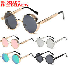 Polarized Lens Unisex Gothic Steampunk Blinder Cyber Round Goggles Sunglasses