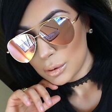 Gold/Pink Mirror Lens Aviator Sunglasses Limited  Edition Women Gold Frame Retro
