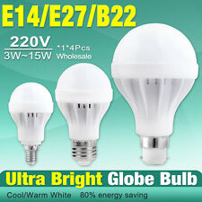 220V E27 B22 E14 Energy Save LED Bulb Light Lamp 5/7/9/12W Cool Warm White X1/4