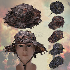 3D Army Camouflage Bionic Leaf Hat Camping Hunting Camo Archery Boonie Hat Cap
