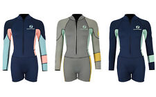 Womens HARMONY 3/2mm Long Sleeve Shorty Wetsuit Surf Dive Sport Two Bare Feet