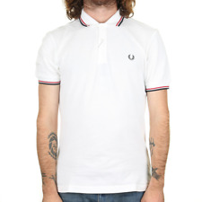 Fred Perry Twin Tipped Polo Shirt - White / Bright Red / Navy