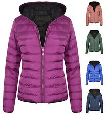 New Womens Hooded Reversible Puffa Zip Up Quilted Padded Coat Jacket