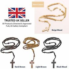 Wood Rosary Beads Rosary Necklace Catholic Prayer Beads Gift Necklace Cross