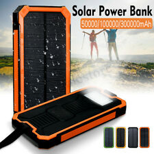 50000/100000/300000mAh Waterproof Portable Solar Power Bank USB Battery Charger