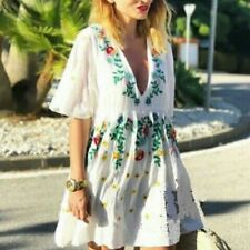 ZARA FLORAL EMBROIDERED DRESS ECRU V NECK Smock Tunic Beach 0881/141 XS S M L