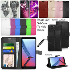 For ZTE Blade Phones  - Wallet Leather Case Flip Book Cover + Screen Protector