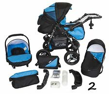 Classic Baby Pram Pushchair 2in1 or 3in1 stroller travel system – Black Blue 2