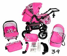 Classic Baby Pram Pushchair 2in1 or 3in1 stroller travel system – Pink Flower