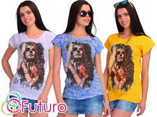 PARTY T-SHIRT MONSTER Make Up stampa girocollo tunica top stile casual taglia 8