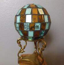 Vintage Mosiac Turquoise and Copper Colored Carpet Ball Decorative 4""
