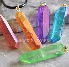 Choice of Natural Rough Aura Quartz Pendant Necklace Ladies Gift Reiki Healing