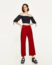 ZARA NAVY PUFFY GUIPURE LACE BOATNECK CROP TOP SIZE M_L MED or LARGE BNWT