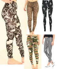 Womens Ladies Cross Animal Leopard Print Full Length Stretched Legging UK 8-26