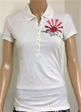 Mujer Denim Guru Londres Blanco POLO CAMISETA TOP MANGA CORTA TALLA M L XL