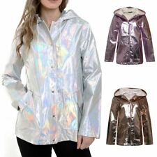 New Womens Silver Iridescent Pearlescent Waterproof Festival Rave Rain Mac