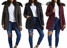New Womens Padded Zig Zag Quilted Puffer Long Fur Hood Premium Parka Coat Jacket