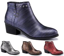 Ladies Chelsea Mid Block Heel Faux Metallic Leather Ankle Boots Shoes Size 3-8