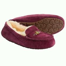 New NIB Ugg Ansley Chunky Swarovski Crystals Moccasin Slippers Suede Shearling