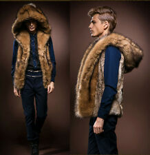 New Men's Faux Rabbit Fur Hooded Coat Jacket Winter  Warm Gilet Vest Waistcoat