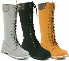 LADIES LACE UP ZIP MID CALF KNEE HIGH WOMENS WINTER MILITARY WORK HIKING BOOT SI