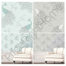 Peacock Wallpaper - Two Colour Options Available Duck Egg and Grey / Silver New