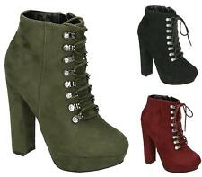 LADIES WOMENS LACE UP BIKER HIGH BLOCK HEEL PLATFORM ANKLE BOOTS SHOES SIZE