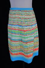 Talbots Skirt size 16 Blue Green Striped Pleated Modest Cruise Vacation