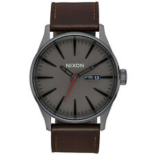 Nixon Herren Uhr Sentry Leather - Gunmetal / Black