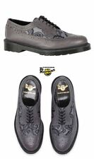 Genuine Dr. Martens Grey Leather Paisley Longwing Brogues Black lace Up Closure