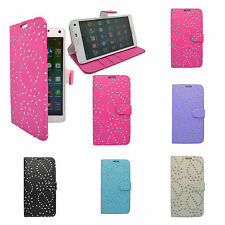 SAMSUNG GALAXY NOTE 4 floreale Glitter Diamanti LIBRO CUSTODIA FLIP COLORE VARI