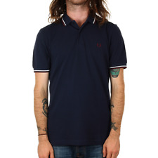 X Fred Perry Twin Tipped Polo Shirt - Carbon Blue / Snow White
