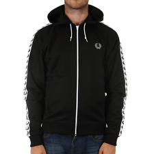 Fred Perry Taped Hooded Track Jacket - Black